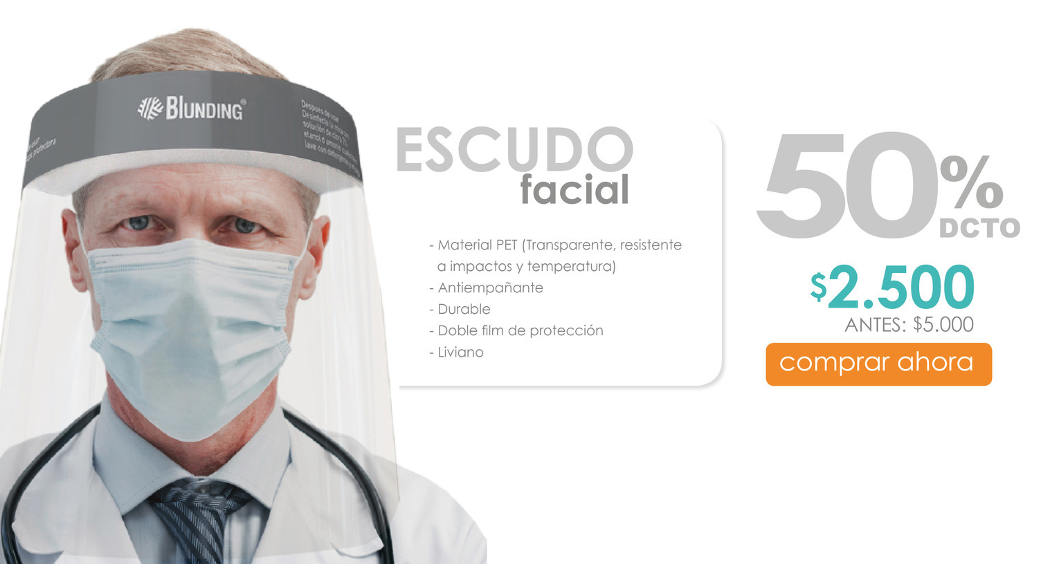 Escudo facial adulto 50
